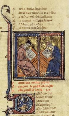 Rare représentation de Guillaume de Lorris et Jean de Meun, 1er quart du XIVe siècle / BnF