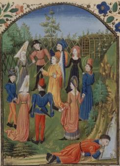 Le roman de la rose, carole avec au centre Amour, manuscrit du XVe siècle / BnF