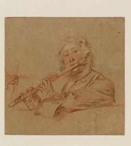 """Antoine Watteau, """"Etude de flûtiste"""" © The Fittzwiliam Museum, Cambridge"""