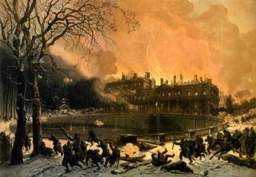 """""""Château de Saint-Cloud incendié par les Prussiens"""", Léon J.B. Sabatier, Lithographie 1872 © Musée des Avelines"""
