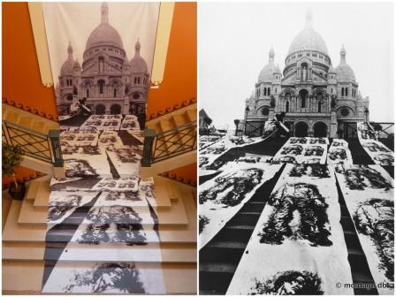 """Installation """"Le gisant"""", reproduite au musée des Avelines. À droite photo originale Paris 1971 © E. Pignon-Ernest"""