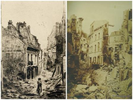"""À gauche, """"rue de l'Eglise"""", François Pierdon (1821-1904), Eau-forte / À droite """"Désastres de la guerre. Saint-Cloud incendié après l'armistice, Jean Andrieu (1816-1874), photographie © Musée des Avelines"""