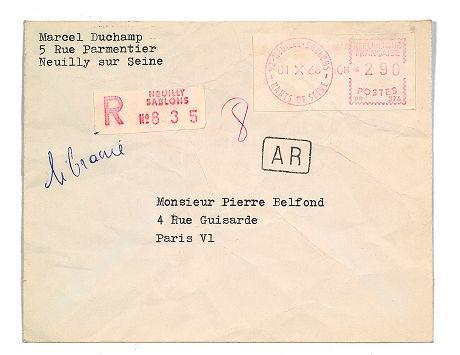 Marcel Duchamp (1887-1968), lettre tapuscrite signée, adressée à Pierre Belfond, datée du 29 septembre 1968, timbre du 1er octobre, enveloppe conservée avec accusé de réception (vente Artcurial du 26 mars 2013)