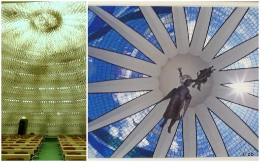 De gauche à droite : la salle du comité central © db / Sous la coupole de la cathédrale de Brasilia © Fabio Colombini