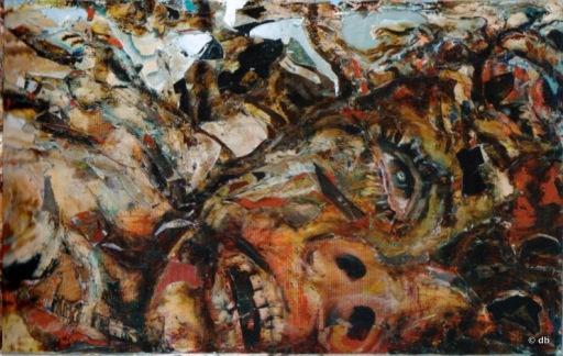 """Coskun, """"Le Petit chaperon rouge final"""", détail, technique mixte sur contreplaqué métallique, 2012 © db"""