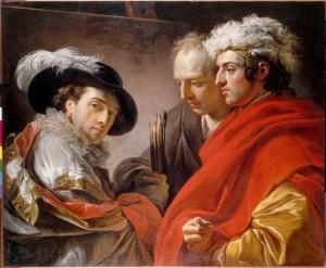 François-André VINCENT,  Triple portrait de l'artiste, de l'architecte Pierre Rousseau et du peintre Coclers dit van Wyck  1775 © RMN-Grand Palais / Daniel Arnaudet
