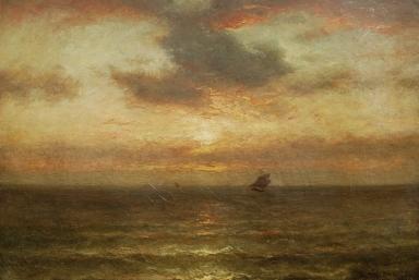 """Jules Dupré, """"Coucher de soleil sur la mer""""© Henri Delage"""