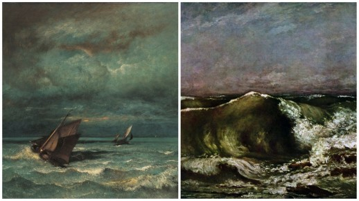 "Jules Dupré, ""Orage en mer"" © Henri Delage / Gustave Courbet, ""Vague"" © DR"