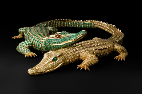 Collier Crocodiles, Cartier Paris 1975, commande spéciale de Maria Félix; Or,1023 diamants jaune ( 60.02 carats), deux cabochons émeraudes (yeux), 1060 émeraudes (66.86 carats), deux cabochons rubis (yeux). Coll.Cartier:photo V.Wulveryck©Cartier