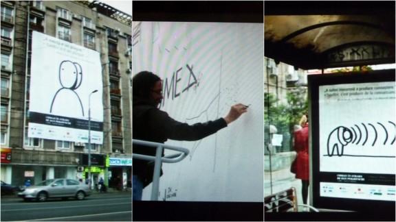 """Dan Perjovschi, """"Cioran dans la rue"""". De gauche à droite : """"La vie est un plagiat"""", """"Souffrir, c'est produire de la connaissance"""", montage db ©CNHI"""