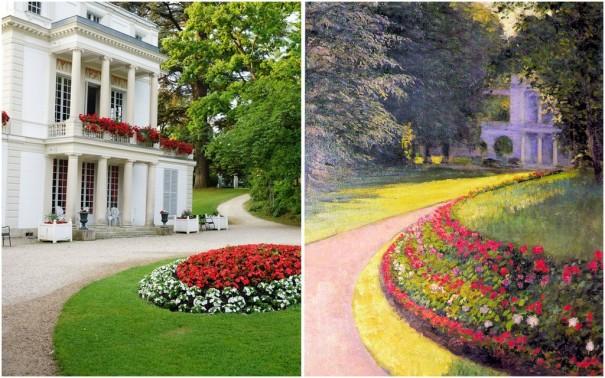 """""""le  Casin"""" et le parc, aujourd'hui /Photo db et peint par Caillebotte en 1877/ coll. part. Berhaut"""