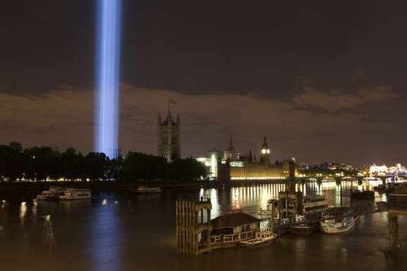 Spectra by Ryoji Ikeda, 2014 View from Lambeth Bridge by Olivia Rutherford.