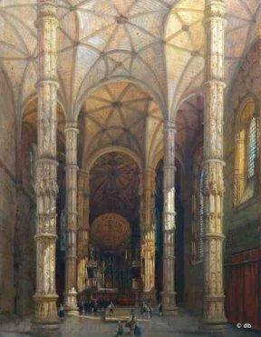 Adrien Dauzats, Nef de l église du monastère de Belem à Lisbonne, vers 1838 © Musée des Beaux-Arts de Dole, cl. Henri Bertand