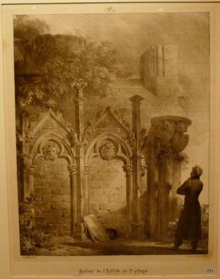 """Fragonard, Ruines de l'église de St-Pierre de Jumièges (""""Voyages pittoresques"""", Normandie 1) / Photo db"""