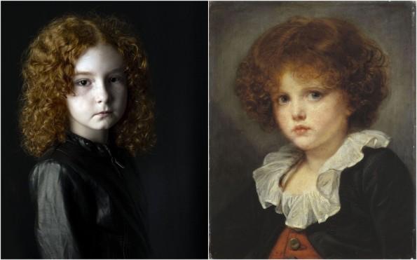 """Pierre Gonnord, """"Charlotte"""" © Pierre Gonnord // Jean-Baptiste Greuze (1725-1805), """"Petit garçon au gilet rouge"""", entre 1775 et 1780, Paris, Musée Carnavalet © Musée Cognacq-Jay / Roger-Viollet"""