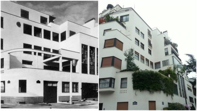 Hôtel Mallet-Stevens, dans les années 1920 ©Les Arts décoratifs/Marc Vaux et aujourd'hui © db