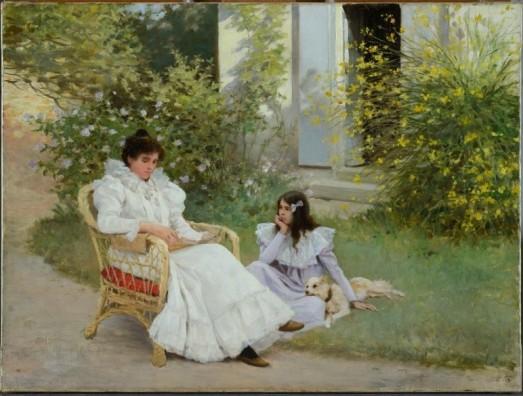 """Dabat-Ponsan, """"Mère et fille dans un jardin breton"""" © MBA Tours / photo François Lauginie"""