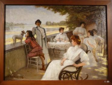 """Debat-Ponsan, """"Le café sur la terrasse, bord de Loire à Amboise, 1908 / Coll. part./ Photo db"""