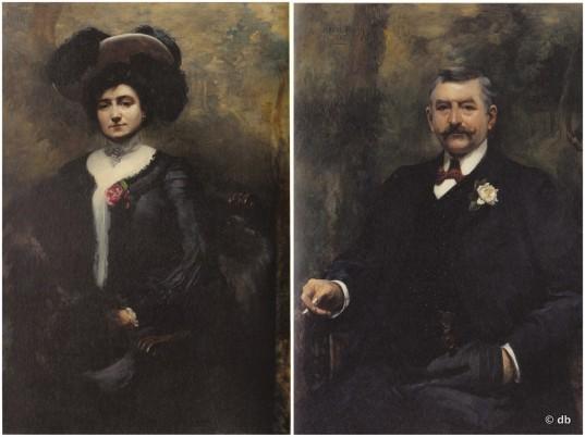 Portraits de Marie-Louise Cognacg, née Jay et d'Ernest Cognacq, par Jeanne Madeleine Favier (1903) © db