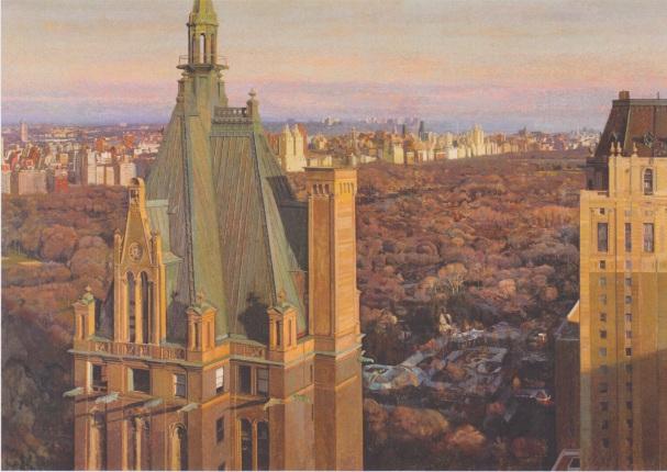 """Jean-Baptiste Sécheret, """"New York"""", 2011-2012, peinture à la colle sur papier marouflé sur toile ©Henri Delage"""