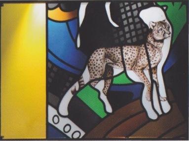 Jean-Michel Alberola et atelier Duchemin, Le guépard, Verrière de la Création (détail) 2002, Nevers, cathédrale Saint-Cy- et-Sainte-Julitte © Mark Walter