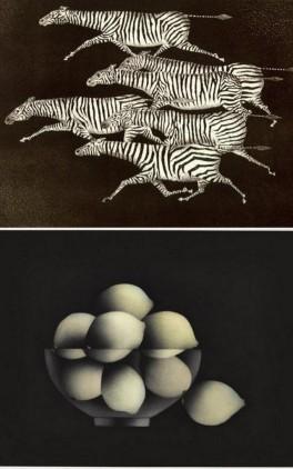 """Mario Avatti, """"Six zèbres courant"""", 1957 / """"La nuit du citron musqué"""", 1992 © Académie des Beaux-Arts"""