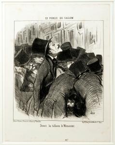 Daumier « Devant les tableaux de Meissonier », dans le journal Le Charivari du 3 mai 1852 -‐ Coll. MAH MP © Ville de Poissy /Rémy-‐Pierre Ribière