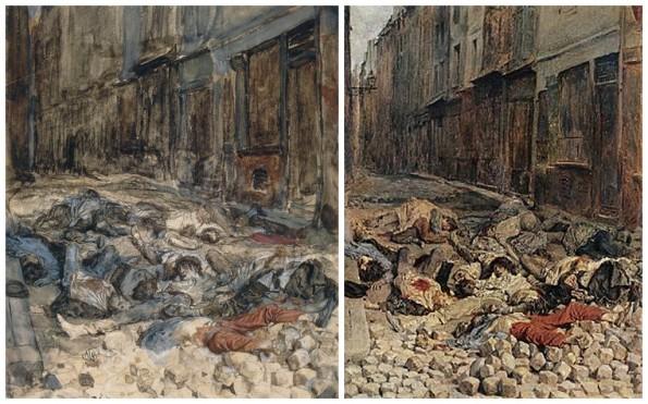 """à gauche : Ernest Meissonier, """"La barricade1848"""" © RMN-Grand Palais (Musée d'Orsay) / Michèle Bellot A droite : Ernest MEISSONIER  """"La barricade, rue de la Mortellerie, juin 1848,""""dit aussi """"Souvenir de guerre civile"""" © RMN/musée du Louvre Salon de 1850 - 1851"""