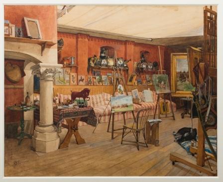 L'atelier d'été de Meissonier à Poissy / aquarelle de Gustave Méquillet ©R-P RIBIERE