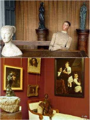 De haut en bas : dans l'atelier du sculpteur/ dans la salle de peinture © db
