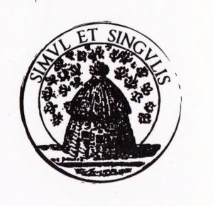 """L'emblème de la Ruche et la la devise de la Troupe de la comédie-Française: """"Simul et singulis"""" (être ensemble et être soi-même) , initialement gravés sur les jetons de présence distribués aux comédiens, dès 1682"""