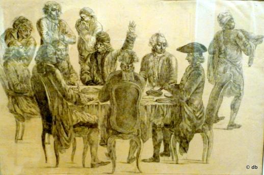 Voltaire, d'Alembert, Condorcet, l'abbé Maury, Rousseau, au café Procope/ eau forte attribuée à Jean Huber © musée Canavalet/photodb