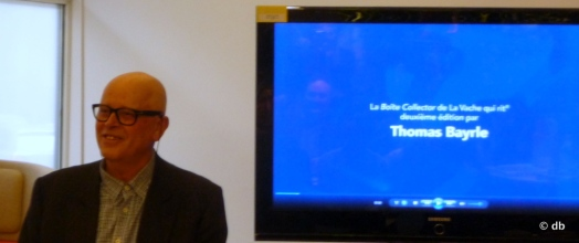 Thomas Bayle, lors du lancement de la Boite Collector au siège du Groupe Bel à Paris/Photo db