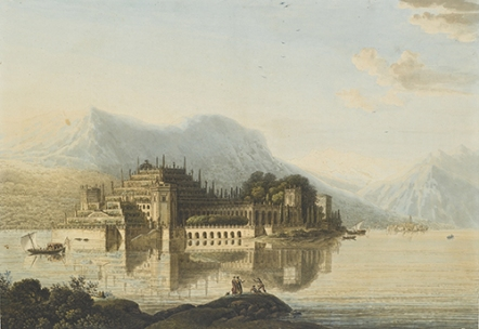 « Vue générale de l'Isola Bella sur le lac Majeur », vers 1801 – eau-forte au trait, aquarelle et rehauts de gouache © Rouen, musée des Beaux-Arts