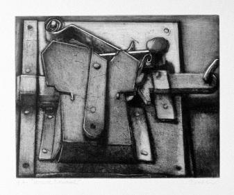 """"""" Serrure Romaine"""", gravure sur cuivre, 2001 © Devorah Boxer"""