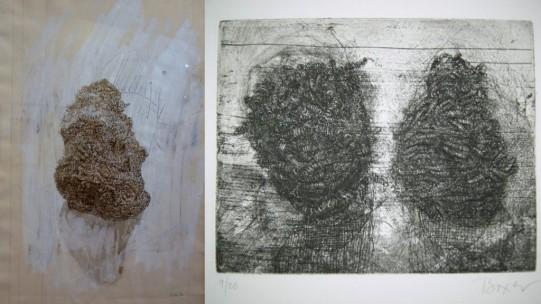 """""""Éponges métalliques"""", dessin encre de chine, gouache sur papier, 2010, photo db// gravure sur métal, 2007 © Devorah Boxer"""