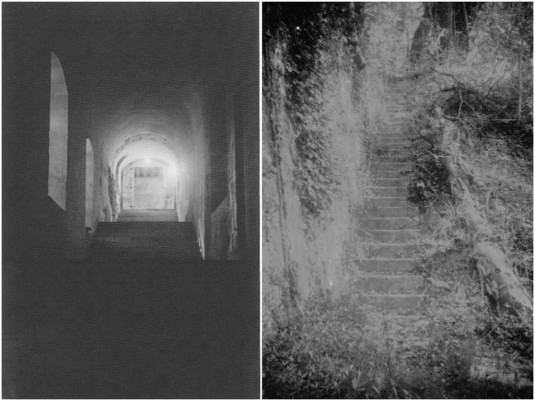 """""""La Roche-Guyon Le château invisible"""", l'escalier du théâtre et le Jardin anglais / Photos Pauline Fouché"""