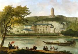 "Hubert Robert, ""vue du château de Madame d'Enville, La Roche-Guyon, 1773"
