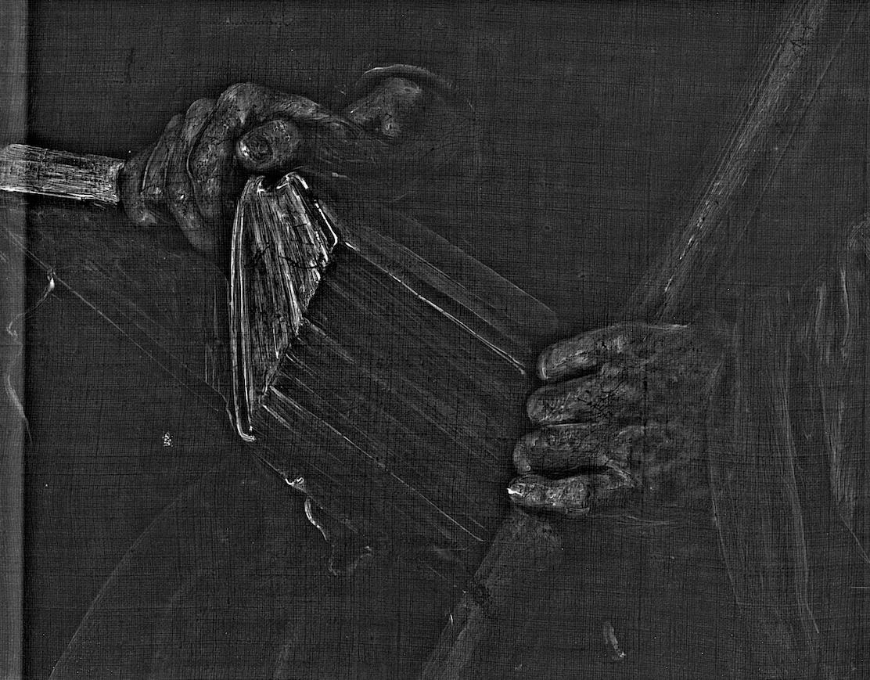 Radiographie du Saint Thomas de Vélasquez: détail